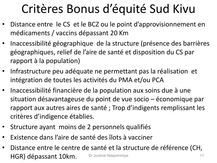 Critères Bonus d'équité Sud Kivu