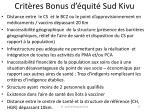 crit res bonus d quit sud kivu