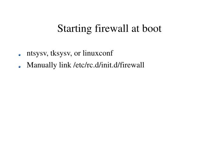 Starting firewall at boot