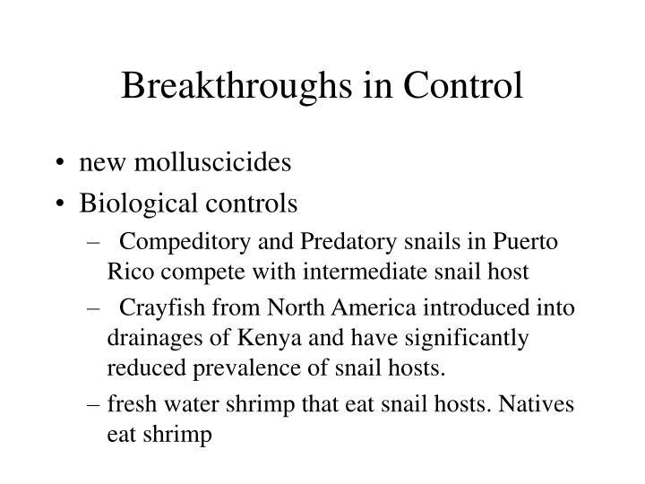 Breakthroughs in Control