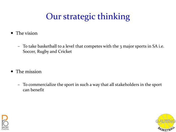 Our strategic thinking