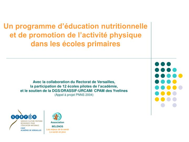 Un programme d'éducation nutritionnelle