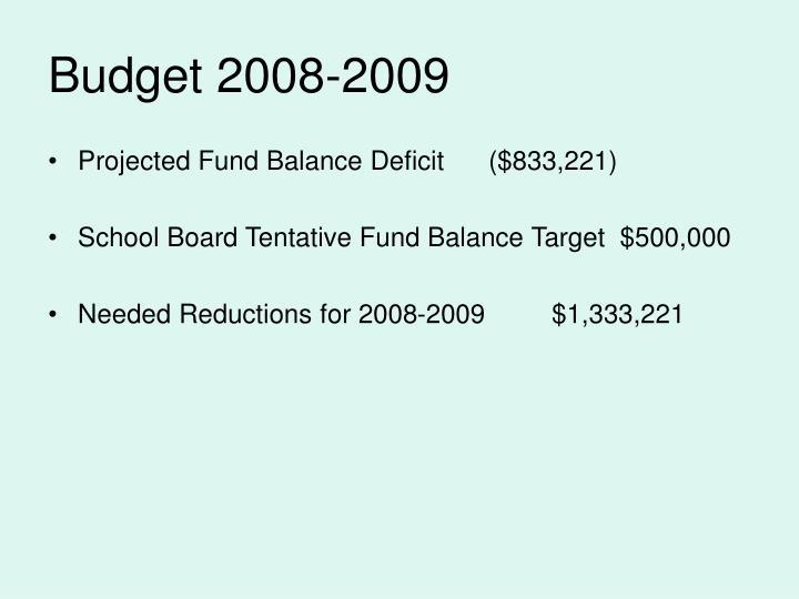 Budget 2008-2009