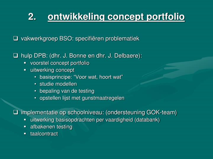 ontwikkeling concept portfolio