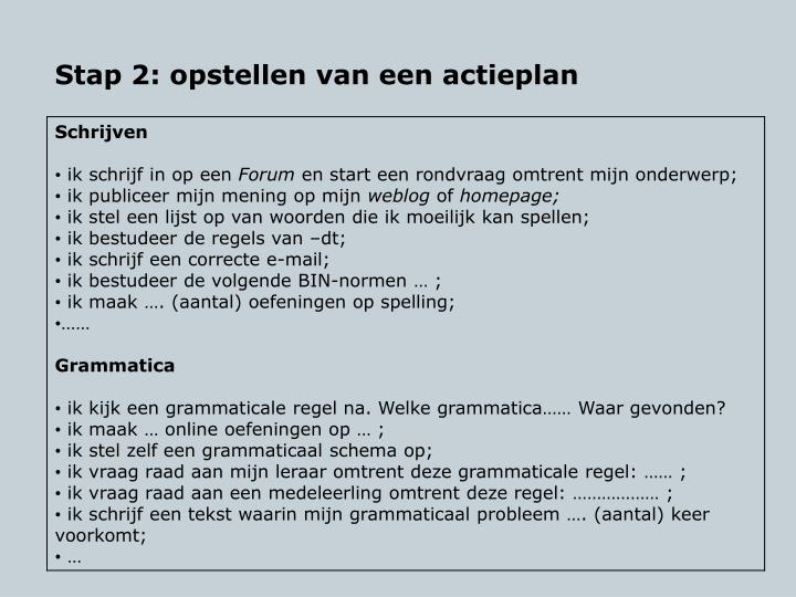 Stap 2: opstellen van een actieplan