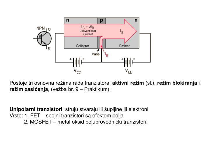 Postoje tri osnovna režima rada tranzistora: