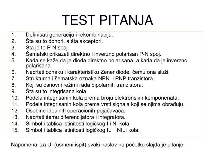 TEST PITANJA