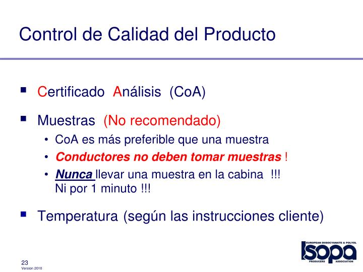 Control de Calidad del Producto