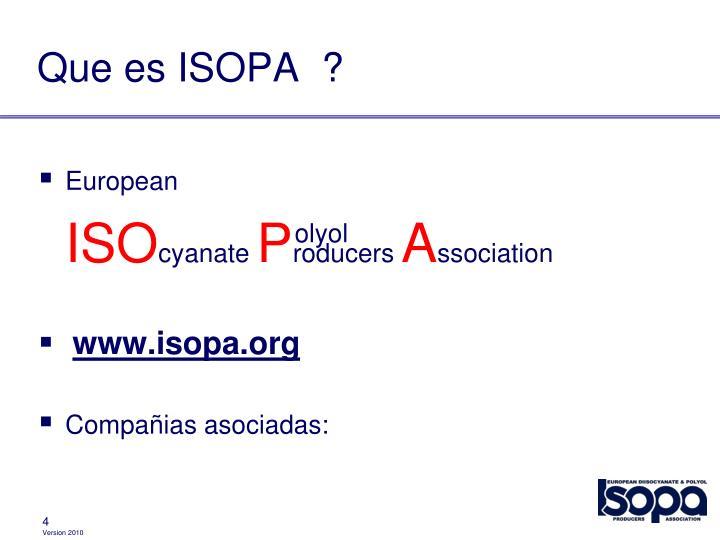 Que es ISOPA  ?