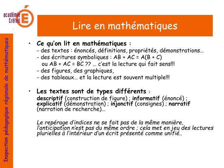 Lire en mathématiques