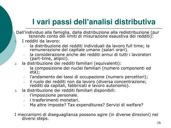 I vari passi dell'analisi distributiva