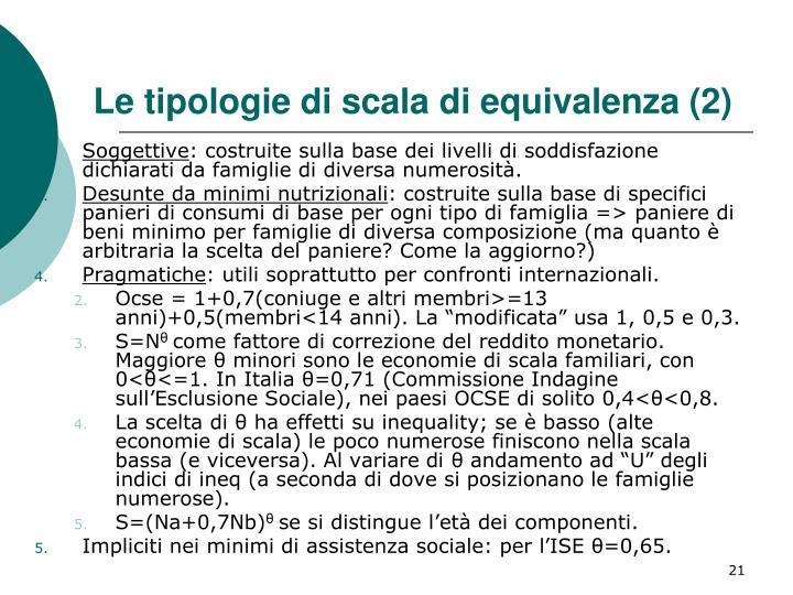 Le tipologie di scala di equivalenza (2)