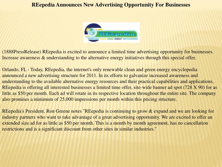 REepedia Announces New Advertising Opportunity For Businesses