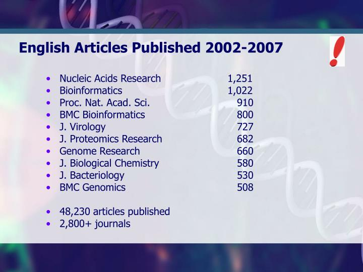 English Articles Published 2002-2007