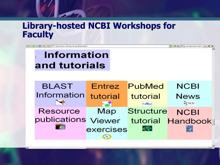 Library-hosted NCBI Workshops for Faculty