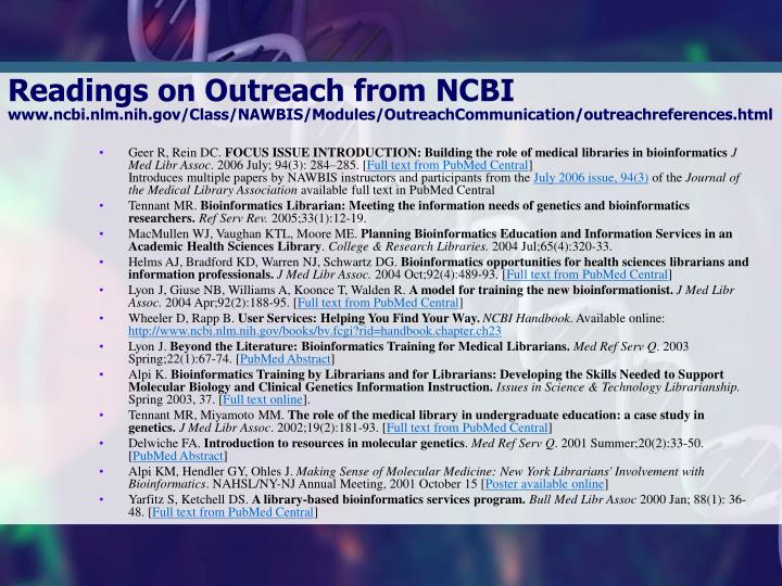 Readings on Outreach from NCBI