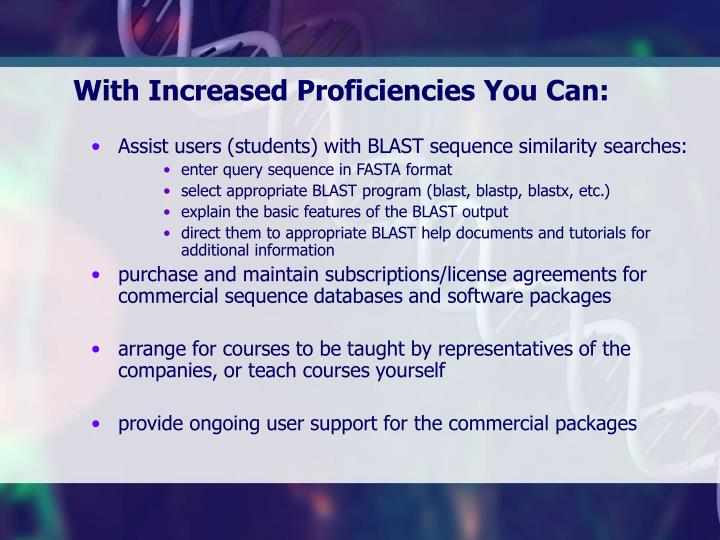 With Increased Proficiencies You Can: