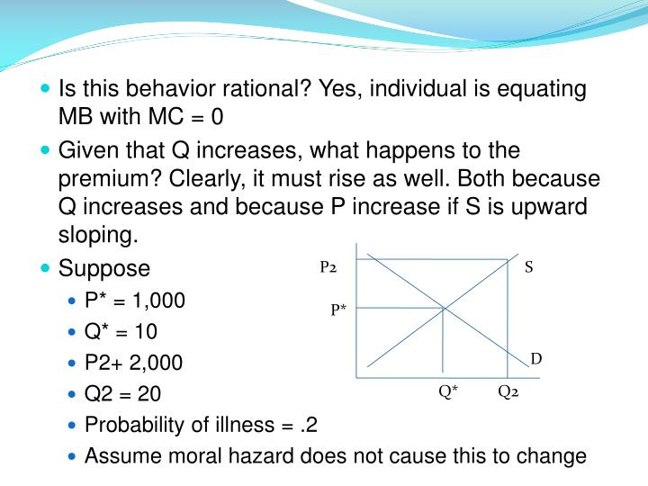 Is this behavior rational? Yes, individual is equating MB with MC = 0