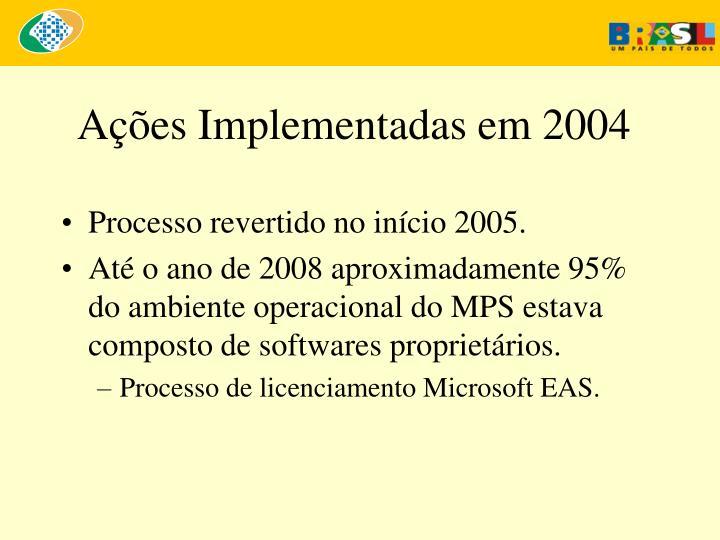 Ações Implementadas em 2004