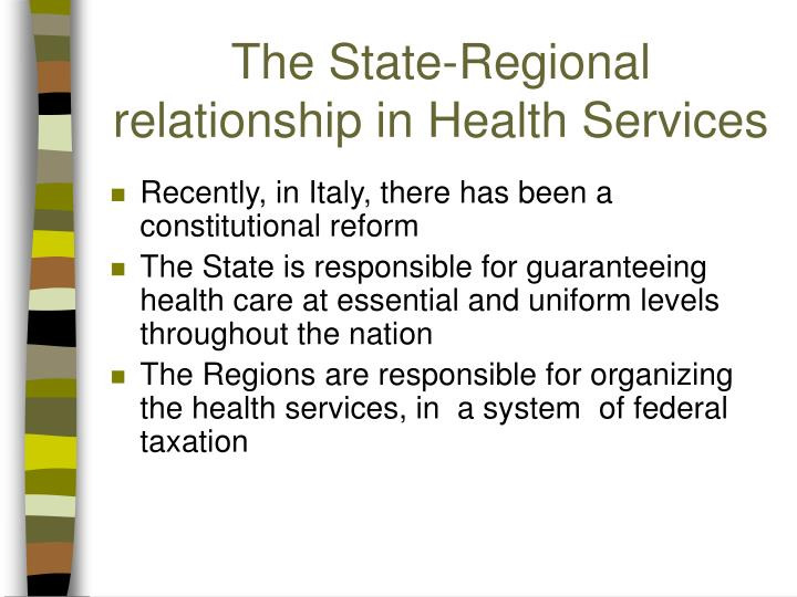 The State-Regional relationship in Health Services