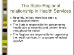 the state regional relationship in health services
