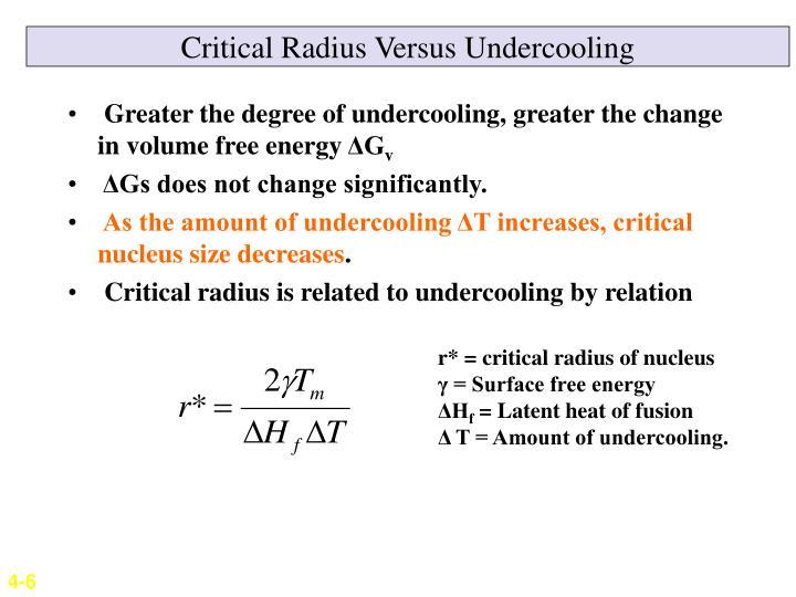 Critical Radius Versus Undercooling