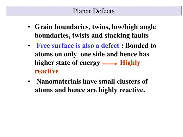 Planar Defects