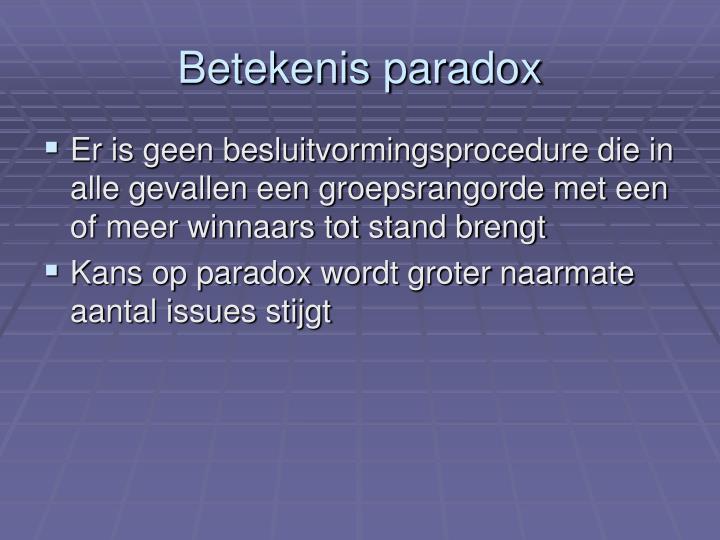 Betekenis paradox