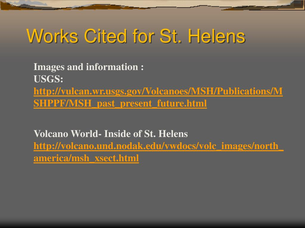 Works Cited for St. Helens