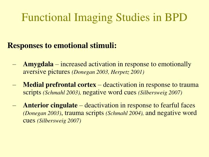 Functional Imaging Studies in BPD