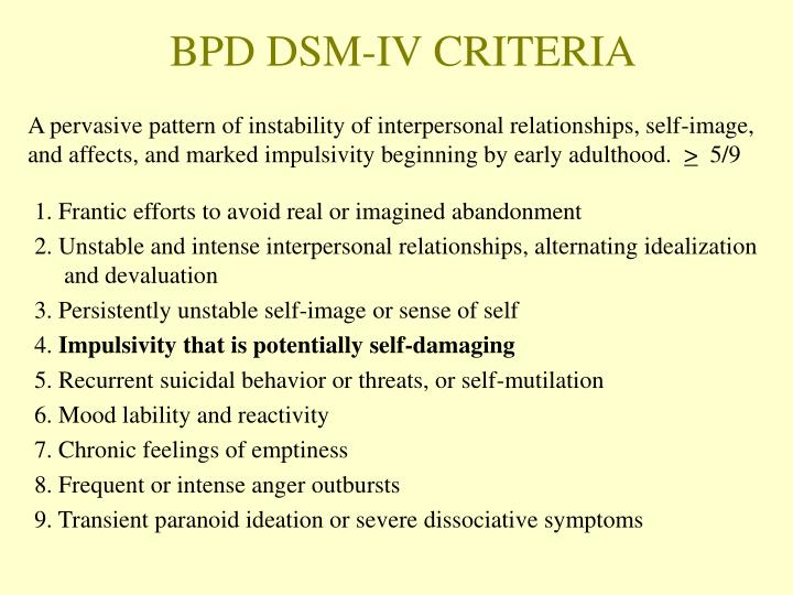 BPD DSM-IV CRITERIA