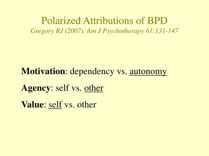 Polarized Attributions of BPD