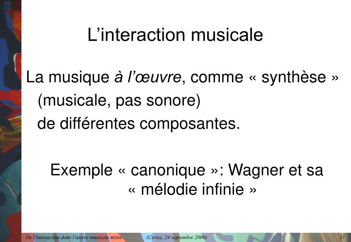 L'interaction musicale