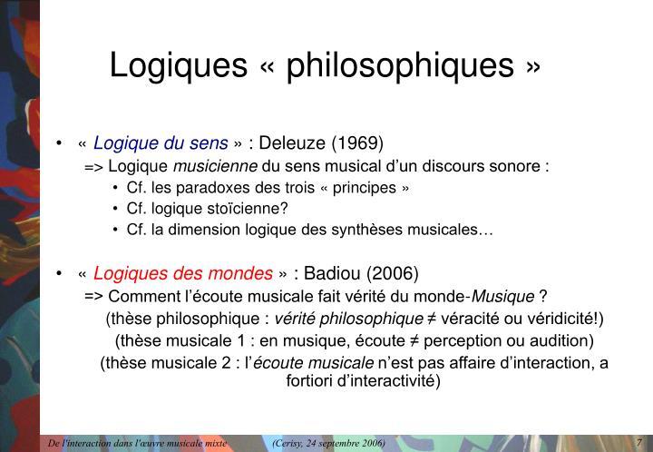 Logiques «philosophiques»