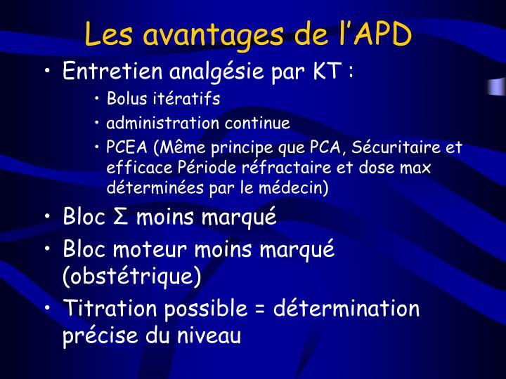 Les avantages de l'APD