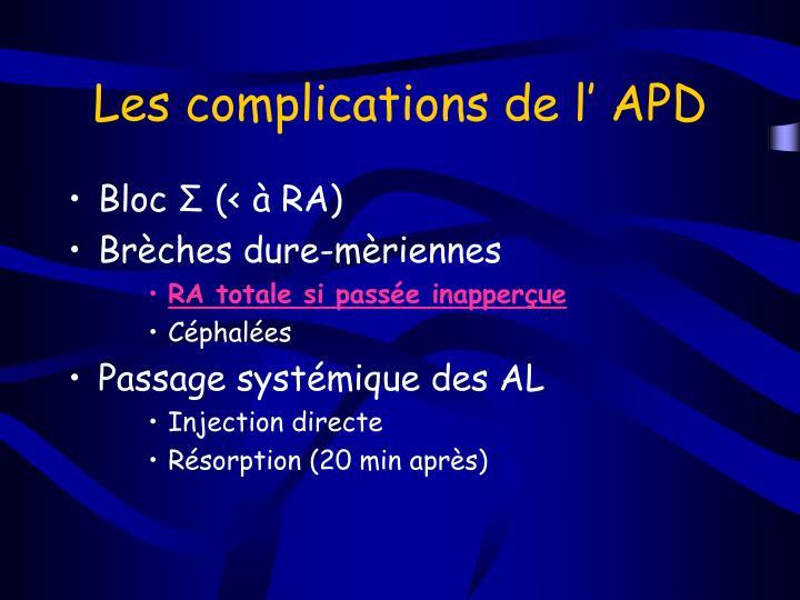 Les complications de l' APD
