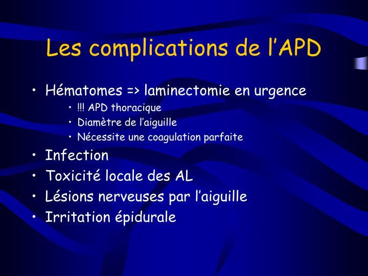 Les complications de l'APD