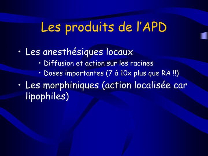 Les produits de l'APD