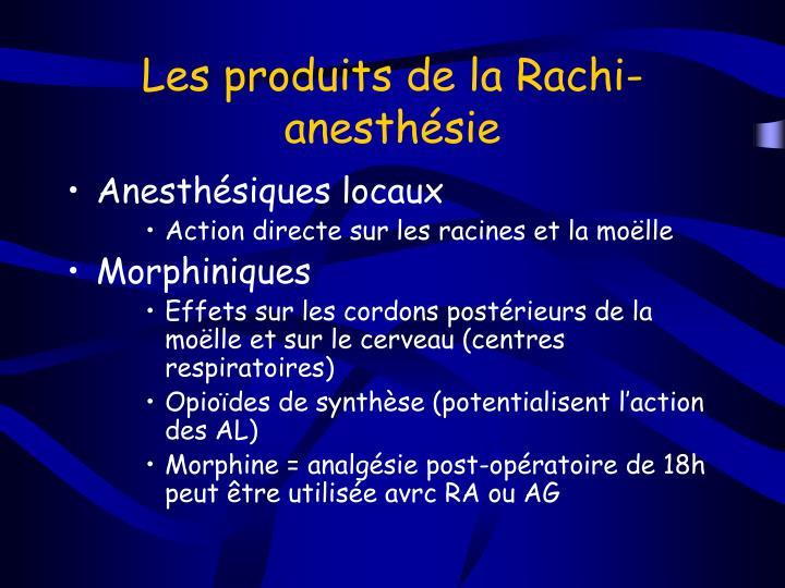 Les produits de la Rachi-anesthésie