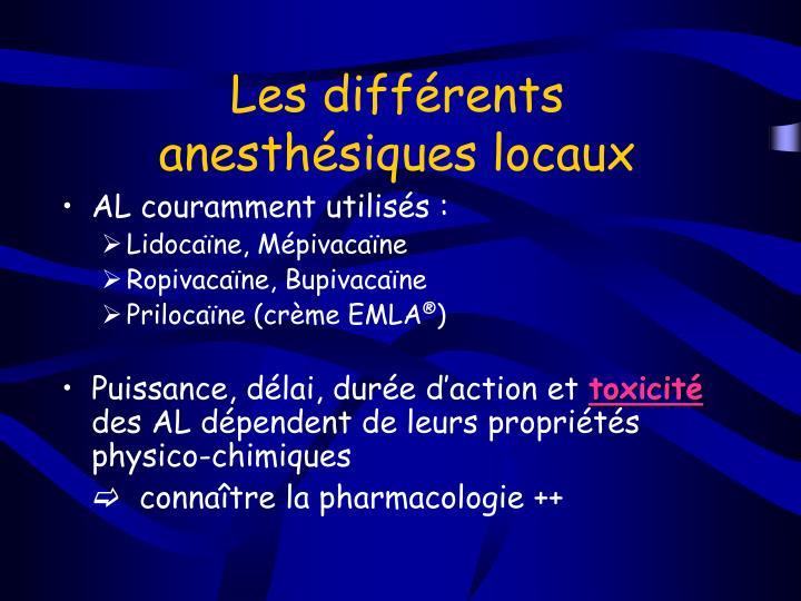 Les différents anesthésiques locaux
