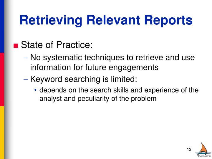 Retrieving Relevant Reports