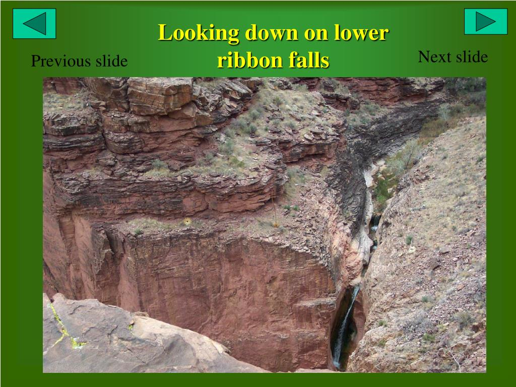 Looking down on lower ribbon falls