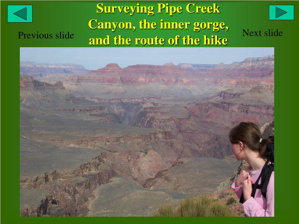 Surveying Pipe Creek Canyon, the inner gorge, and the route of the hike