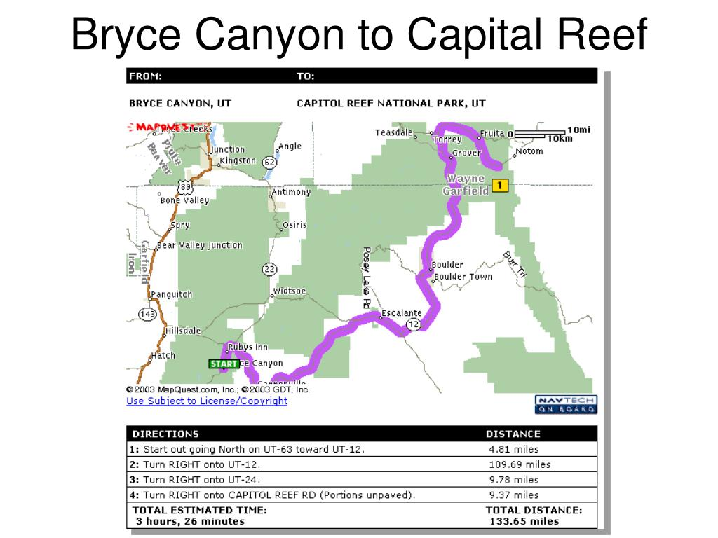 Bryce Canyon to Capital Reef
