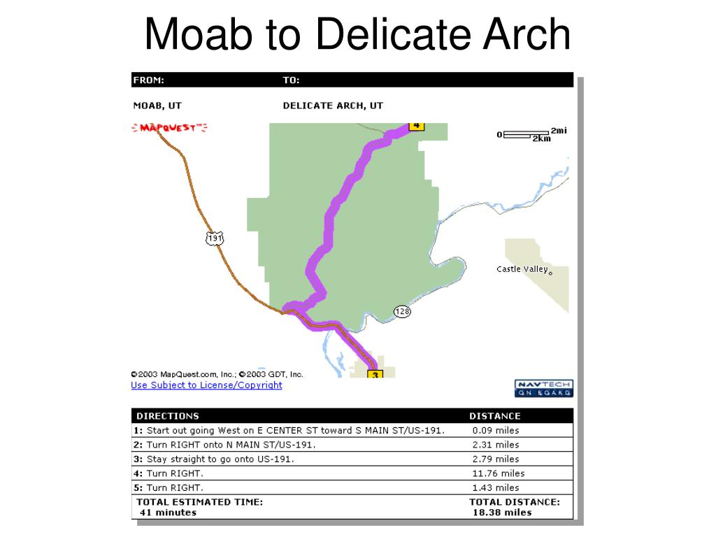 Moab to Delicate Arch