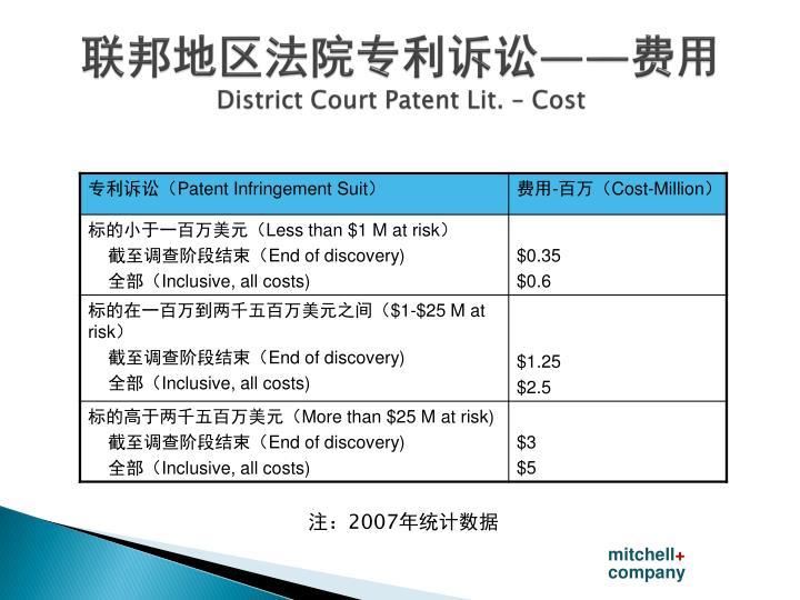 联邦地区法院专利诉讼