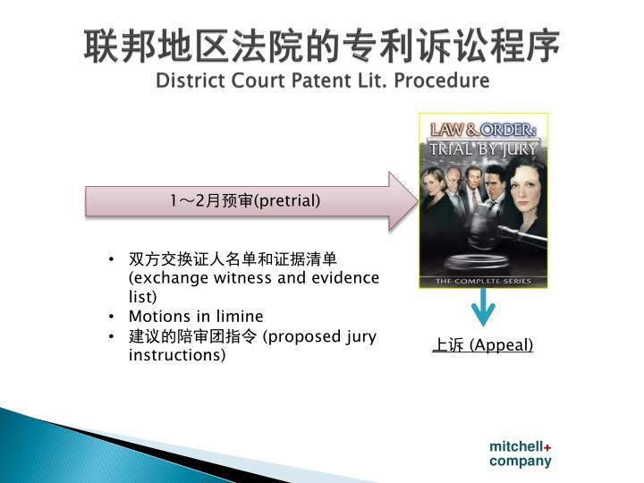 联邦地区法院的专利诉讼程序