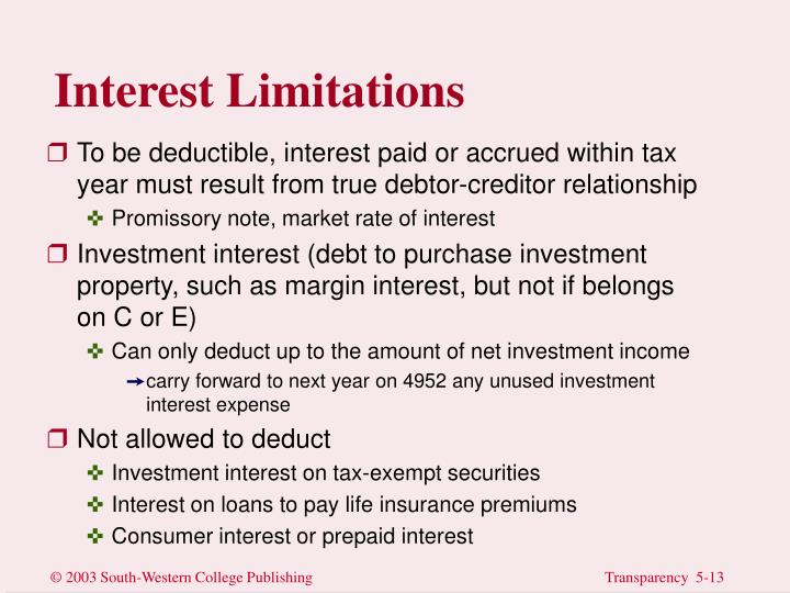 Interest Limitations