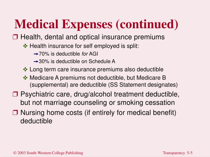 Medical Expenses (continued)