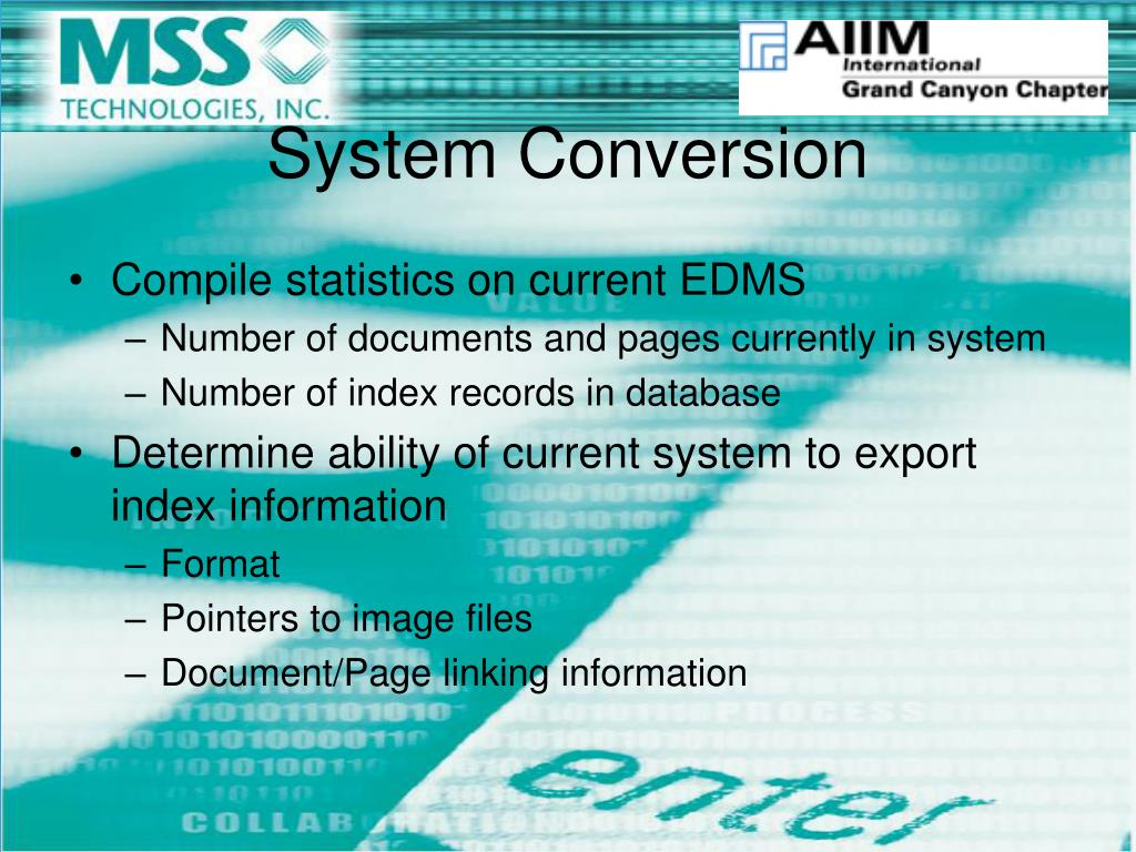 Compile statistics on current EDMS